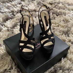 Nina Pallie Black Platform Sandals Size 9 M